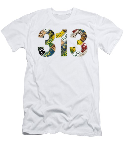 313 Area Code Detroit Michigan Recycled Vintage License Plate Art On White Background Men's T-Shirt (Athletic Fit)
