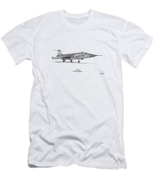 Men's T-Shirt (Slim Fit) featuring the digital art Lockheed F-104 Starfighter by Arthur Eggers