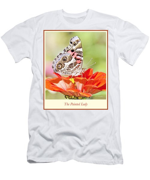 Painted Lady Butterfly On Zinnia Flower Men's T-Shirt (Slim Fit) by A Gurmankin