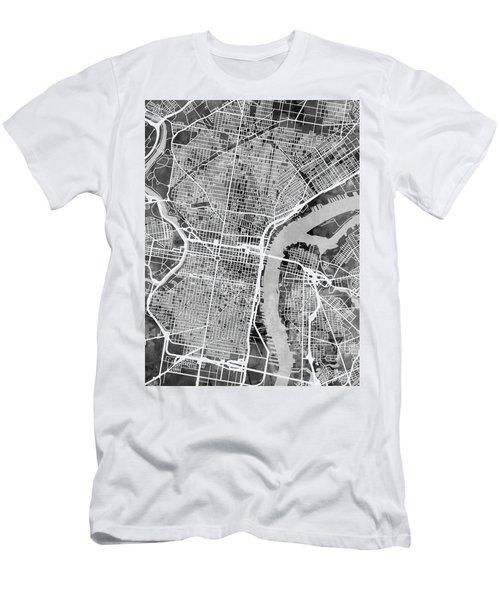 Philadelphia Pennsylvania Street Map Men's T-Shirt (Athletic Fit)