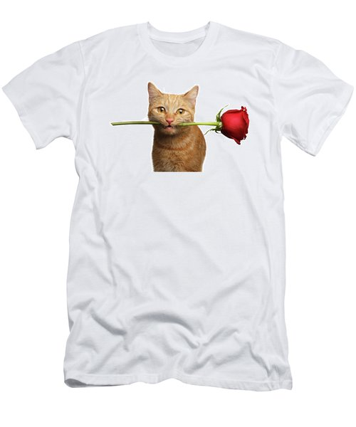 Portrait Of Ginger Cat Brought Rose As A Gift Men's T-Shirt (Slim Fit) by Sergey Taran