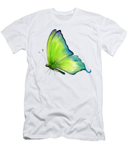 4 Skip Green Butterfly Men's T-Shirt (Slim Fit) by Amy Kirkpatrick