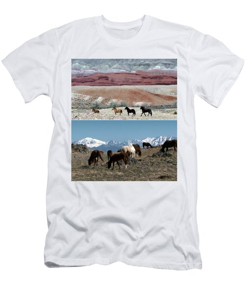 Twin Photos Awesome North American Mustangs Horses Cowboys Photography See On Posters Pillows Curtai Men's T-Shirt (Athletic Fit)