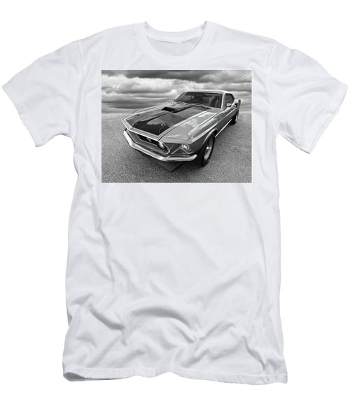 428 Cobra Jet Mach1 Ford Mustang 1969 In Black And White Men's T-Shirt (Athletic Fit)
