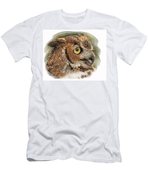 Men's T-Shirt (Athletic Fit) featuring the digital art Great Horned Owl by Larry Linton