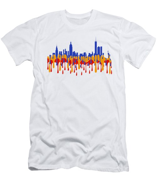 New York Ny Skyline Men's T-Shirt (Slim Fit)