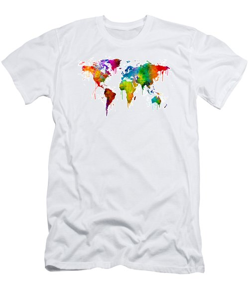 Watercolor Map Of The World Map Men's T-Shirt (Athletic Fit)