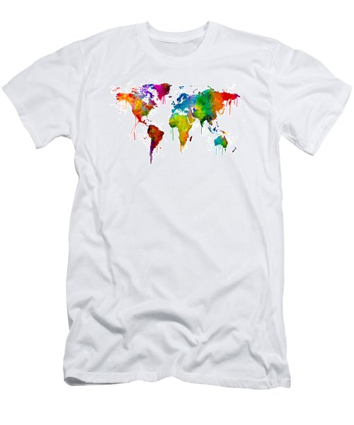 Watercolor Map Of The World Map Men's T-Shirt (Slim Fit)