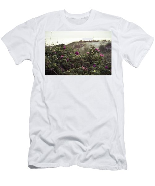 Men's T-Shirt (Athletic Fit) featuring the photograph Rose Bush And Dunes by Michael Maximillian Hermansen