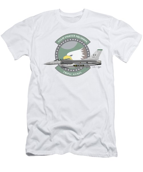 Men's T-Shirt (Slim Fit) featuring the digital art Lockheed Martin F-16c Viper by Arthur Eggers