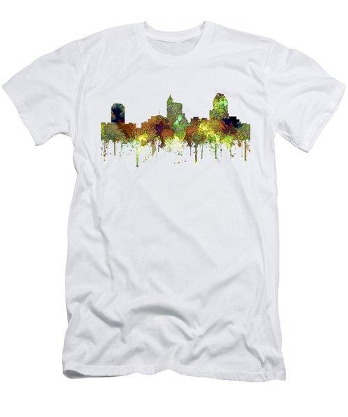 Raleigh North Carolina Skyline Men's T-Shirt (Athletic Fit)