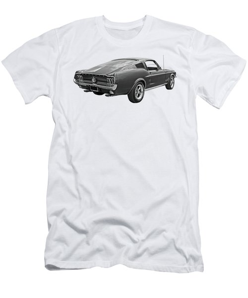 67 Fastback Mustang In Black And White Men's T-Shirt (Slim Fit) by Gill Billington