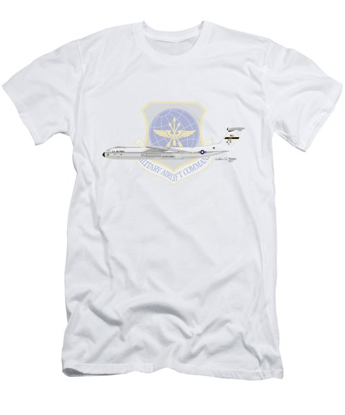 Men's T-Shirt (Slim Fit) featuring the digital art Lockheed C-141a Starlifter by Arthur Eggers