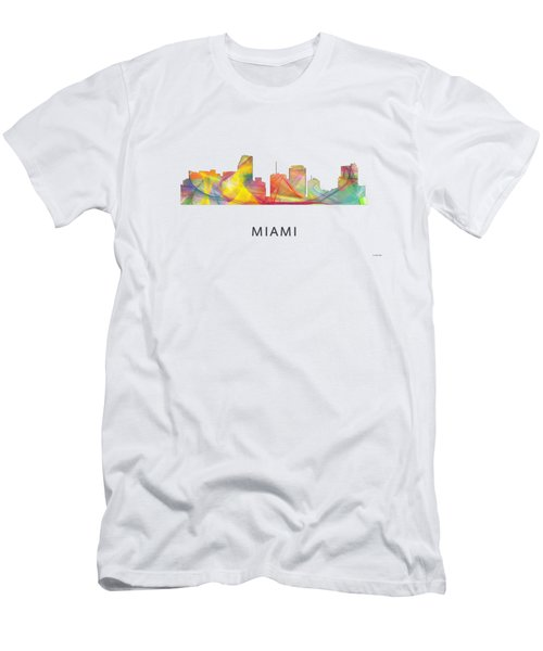 Miami Florida Skyline Men's T-Shirt (Slim Fit) by Marlene Watson