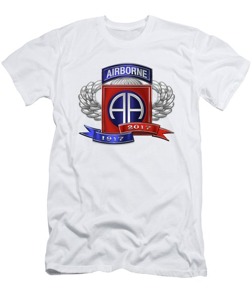 Men's T-Shirt (Slim Fit) featuring the digital art 82nd Airborne Division 100th Anniversary Insignia Over White Leather by Serge Averbukh