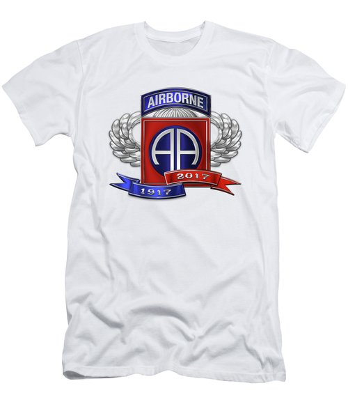 82nd Airborne Division 100th Anniversary Insignia Over White Leather Men's T-Shirt (Athletic Fit)