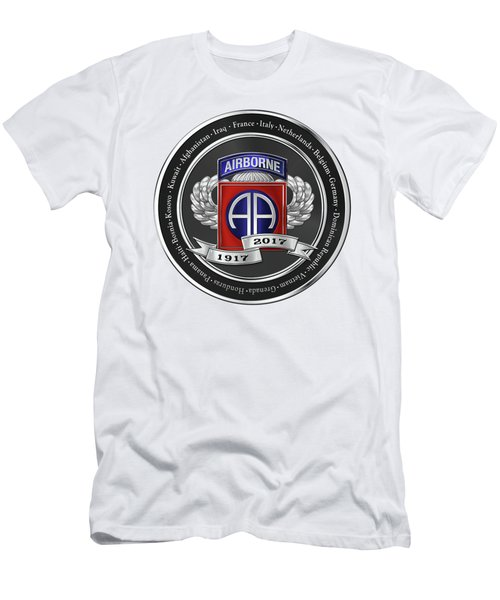 Men's T-Shirt (Slim Fit) featuring the digital art 82nd Airborne Division 100th Anniversary Medallion Over White Leather by Serge Averbukh