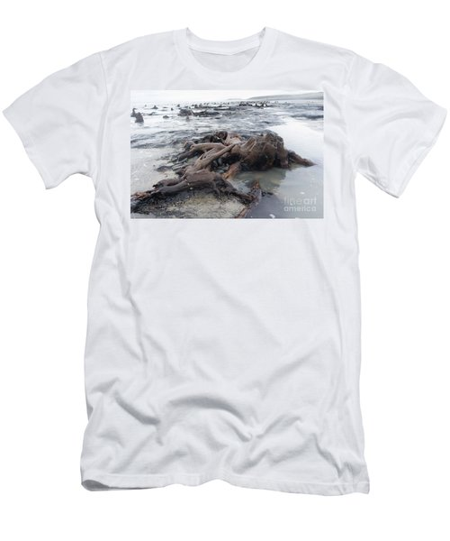 Bronze Age Sunken Forest At Borth On The West Wales Coast Uk Men's T-Shirt (Athletic Fit)