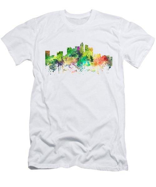Los Angeles California Skyline Men's T-Shirt (Slim Fit) by Marlene Watson