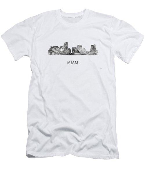 Miami Florida Skyline Men's T-Shirt (Slim Fit) by Marlene Watson