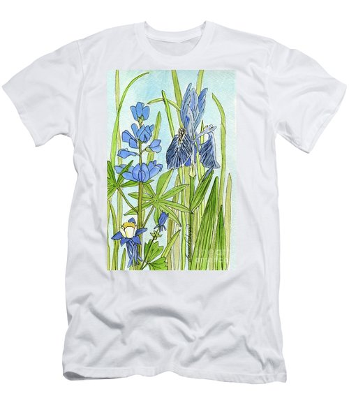 A Blue Garden Men's T-Shirt (Slim Fit) by Laurie Rohner