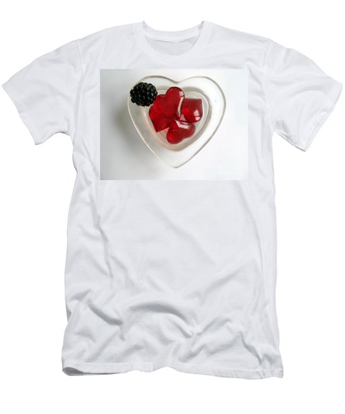 Men's T-Shirt (Slim Fit) featuring the photograph A Bowl Of Hearts And A Blackberry by Ausra Huntington nee Paulauskaite