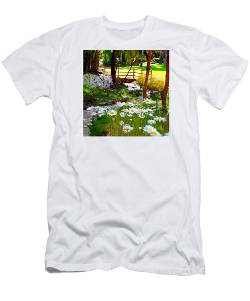A Country Stream With Wild Daisies Men's T-Shirt (Athletic Fit)