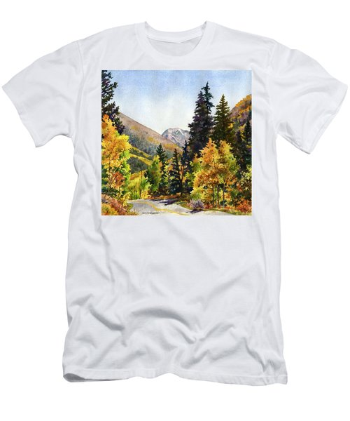 Men's T-Shirt (Slim Fit) featuring the painting A Drive In The Mountains by Anne Gifford