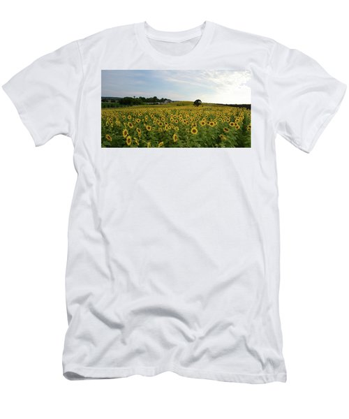 Men's T-Shirt (Slim Fit) featuring the photograph A Field Of Sunflowers by Janice Adomeit
