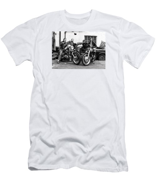 Men's T-Shirt (Slim Fit) featuring the photograph A Group Of Women Associated With The Hells Angels, 1973. by Lawrence Christopher