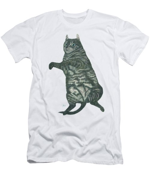 A Lazy Black Cat Lying On Floor Men's T-Shirt (Athletic Fit)