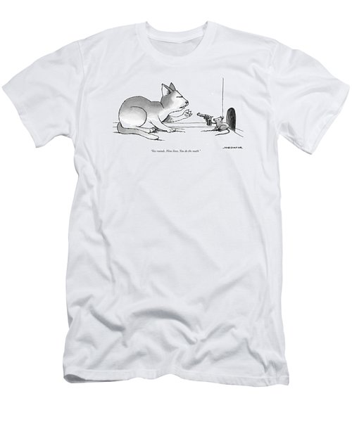 A Mouse Is In Front Of A Mouse Hole Pointing Men's T-Shirt (Athletic Fit)