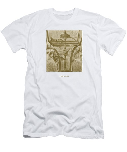Men's T-Shirt (Slim Fit) featuring the drawing A Nest In A Lamp by David Davies