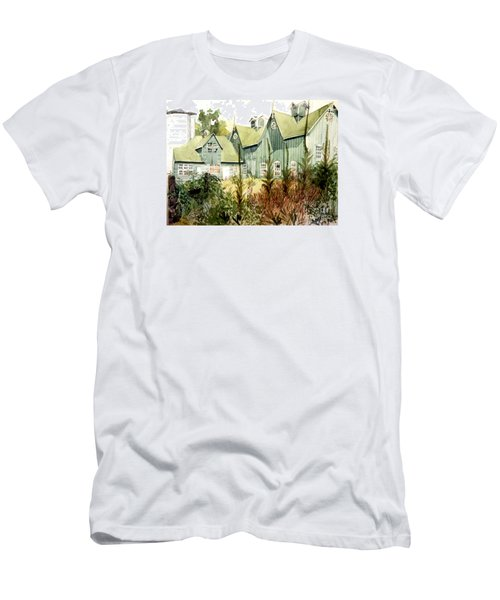 An Old Wooden Barn Painted Green With Silo In The Sun Men's T-Shirt (Slim Fit) by Greta Corens