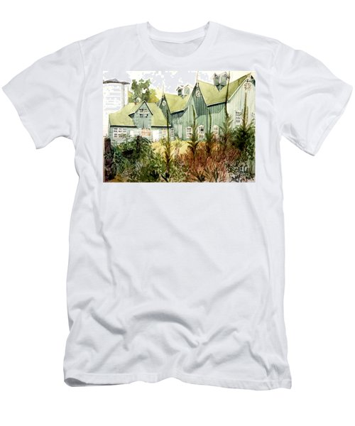 Watercolor Of An Old Wooden Barn Painted Green With Silo In The Sun Men's T-Shirt (Athletic Fit)