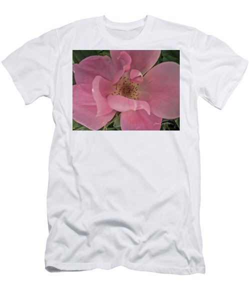 Men's T-Shirt (Slim Fit) featuring the photograph A Single Pink Rose by Joann Copeland-Paul