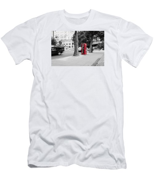 A Single Red Telephone Box On The Street Bw Men's T-Shirt (Athletic Fit)