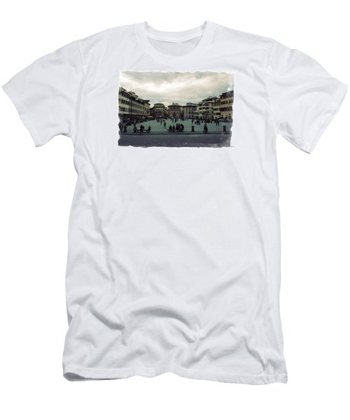 A Square In Florence Italy Men's T-Shirt (Slim Fit) by Wade Brooks