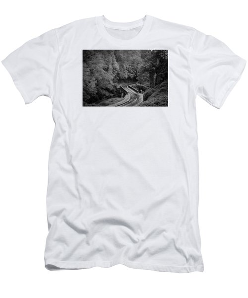 Men's T-Shirt (Slim Fit) featuring the photograph A Wet And Twisty Road Through The Blue Ridge Mountains In Black And White by Kelly Hazel