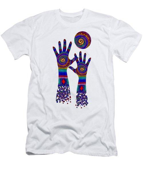 Aboriginal Hands Blue Transparent Background Men's T-Shirt (Athletic Fit)