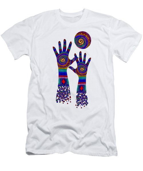 Aboriginal Hands Blue Transparent Background Men's T-Shirt (Athletic Fit)