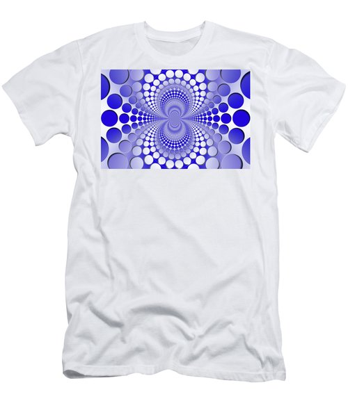 Abstract Blue And White Pattern Men's T-Shirt (Athletic Fit)
