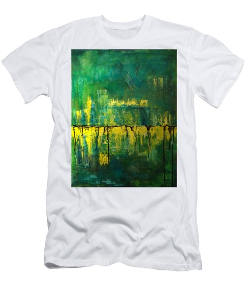 Abstract In Yellow And Green Men's T-Shirt (Slim Fit) by Jocelyn Friis