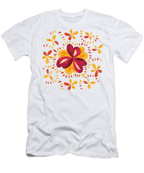 Abstract Pink And Yellow Clover Men's T-Shirt (Athletic Fit)