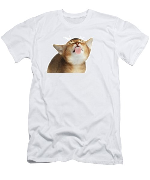 Abyssinian Kitten Licking Screen  Men's T-Shirt (Athletic Fit)