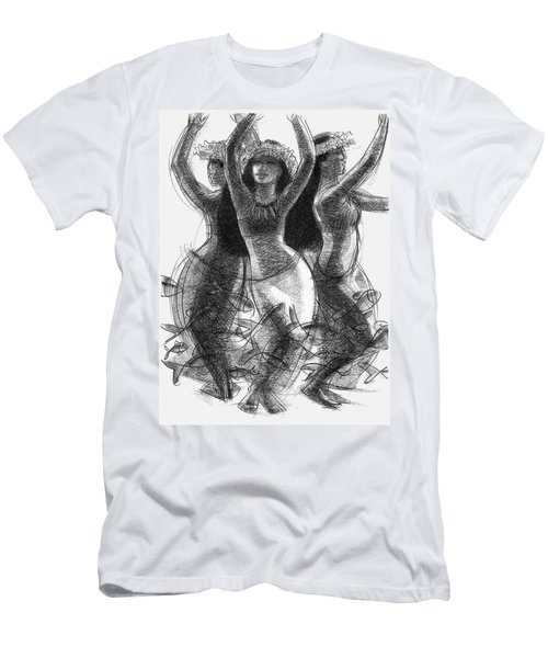 Men's T-Shirt (Athletic Fit) featuring the drawing Action Song Dancers With Fish Pareu by Judith Kunzle