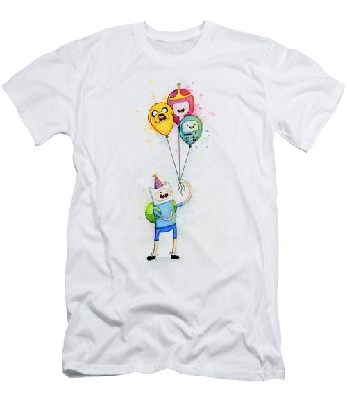 Adventure Time Finn With Birthday Balloons Jake Princess Bubblegum Bmo Men's T-Shirt (Athletic Fit)