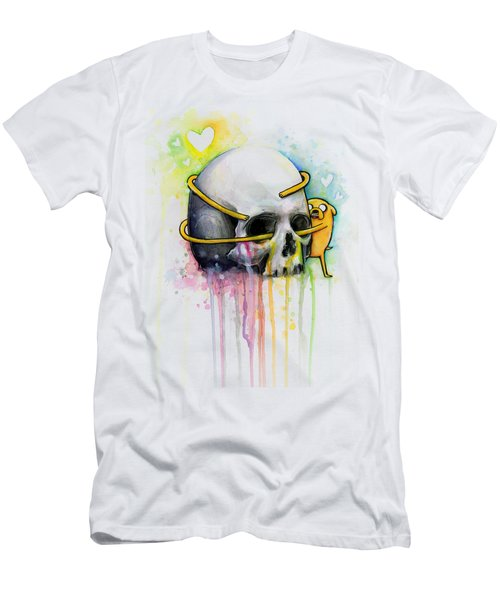Adventure Time Jake Hugging Skull Watercolor Art Men's T-Shirt (Athletic Fit)