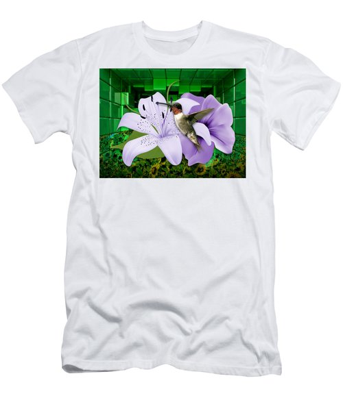 Men's T-Shirt (Athletic Fit) featuring the mixed media Aeronautics Humming Bird by Marvin Blaine