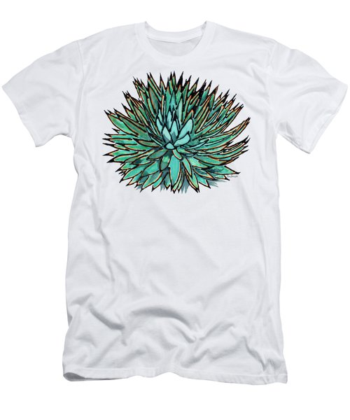 Agave - Spikey Blue With Orange Edges Men's T-Shirt (Athletic Fit)